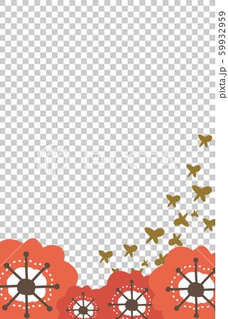 梅の花と金色の蝶の年賀状 59932959