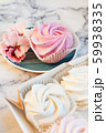 Beautiful delicious dessert. Zephyr in the shape of flowers roses. 59938335