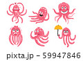 Humanized pink octopuses. Set of vector illustrations. 59947846