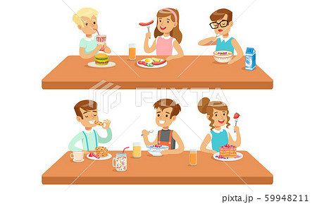 Two Conceptions Of Children Feeding, Healthy Meals And Fastfood Vector Illustration Cartoon Character 59948211