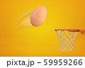 3d rendering of chicken egg that has been thrown in air and is flying toward basketball hoop on amber background. 59959266