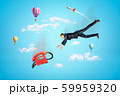 Businessman reaching to red retro telephone with hot air balloons and silver red space rocket in the air on blue background 59959320