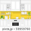 Interior design with modern kitchen in black line sketch on colourful background 59959760
