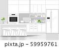 Interior design with modern kitchen in black line sketch on white background 59959761