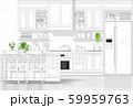 Interior design with modern kitchen in black line sketch on white background 59959763