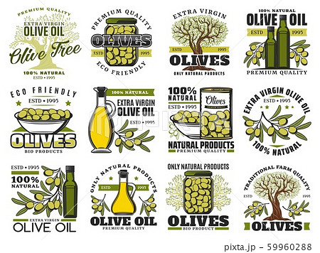 Olive oil bottle, green fruit, tree branch icons 59960288