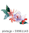 White and red flowers. Isolated flower illustration element. Background set. Watercolour drawing 59961143