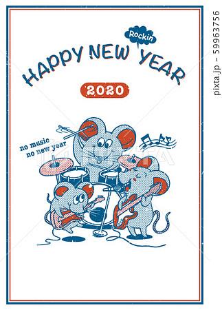 2020年賀状テンプレート「ネズミのファミリーバンド」ハッピーニューイヤー 手書き文字用スペース空き
