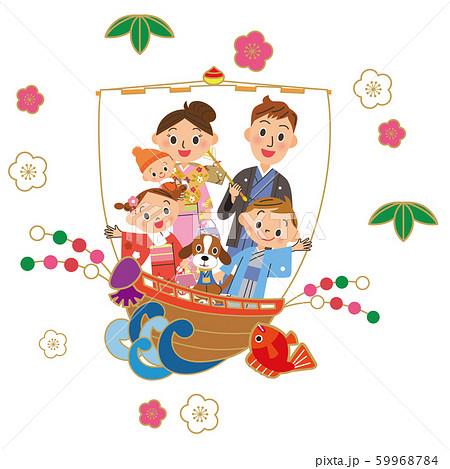 宝船で新年を祝う家族 59968784