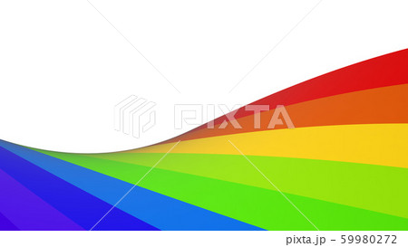 ラインボーカラー ライン ツイスト 背景 白バック 虹配色 CG 59980272