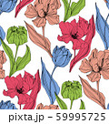 Vector Tulip engraved ink art. Floral botanical flower. Seamless background pattern. Fabric 59995725