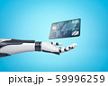 3d rendering of robotic hand with plastic bank card on blue background 59996259