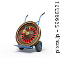 3d rendering of navy blue hand truck standing upright with casino roulette wheel on it. 59996321