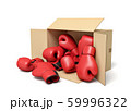 3d rendering of cardboard box lying sidelong full of red boxing gloves. 59996322