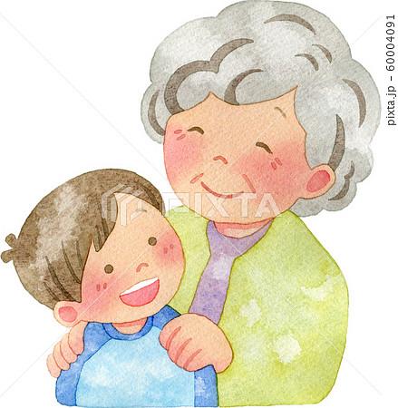 子供の肩に手を置くおばあさん 60004091