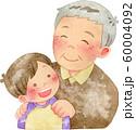 子供の肩に手を置くおじいさん 60004092