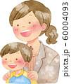 子供の肩に手を置くスーツ姿の女性 60004093
