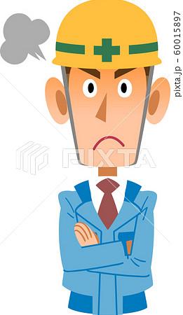青い作業着の工事現場の男性が怒る 60015897