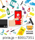 vector of online advertisement of cleaning tools sales. hand holding mobile phone for shopping online with household supplies cleaning product , equipment tools isolated on white background 60017351