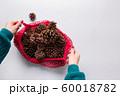 Woman hands holding mesh bag with Christmas zero 60018782