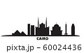 Egypt, Cairo city skyline isolated vector illustration. Egypt, Cairo travel black cityscape 60024436