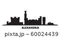 Egypt, Alexandria city skyline isolated vector illustration. Egypt, Alexandria travel black cityscape 60024439