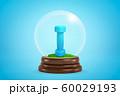 3d rendering of blue dumbbell inside glass ball globe light blue background. 60029193