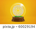 3d rendering of maze in glass snow globe on yellow background 60029194