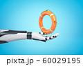 3d rendering of robotic hand holding orange boat lifebuoy on blue background 60029195