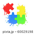 3d rendering of colorful puzzle pieces splashing isolated on white background 60029198