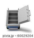 3d rendering of open big light-grey metal safe on blue hand truck. 60029204