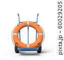 3d rendering of an orange boat lifebuoy on a hand truck 60029205