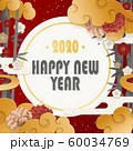 年賀状素材-和モダン-中華雲-竹と梅-牡丹-和紙の風合い 60034769