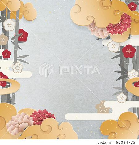 和モダン-中華雲-竹と梅-牡丹-和紙の風合い 60034775