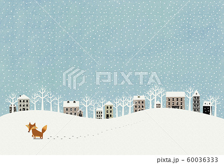 雪景色とキタキツネ 60036333