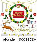 クリスマス 手書き風線画 リース他イラストセット 60036780