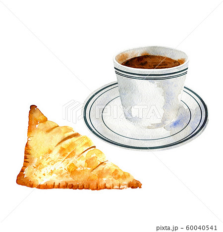 Cup of black coffee with apple pie. 60040541