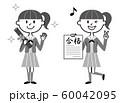女子中高生 卒業 合格 モノクロ イラスト 60042095