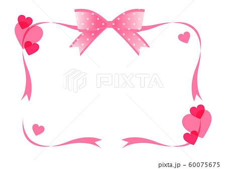 リボンとハートのフレーム飾り枠 60075675
