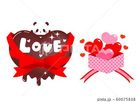 バレンタイン素材・ハートのチョコとパンダLOVE文字入り・ハートのプレゼント 60075838