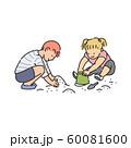 Preschool age children playing in sandbox, sketch vector illustration isolated. 60081600