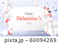 Valentines Day background. Red and white 3D hearts with young couple background 60094269