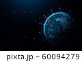Big data network connection technology with global. Abstract particle and geometric technology 60094279