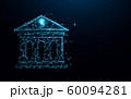 Bank building icon form lines, triangles and particle style design. Illustration vector 60094281