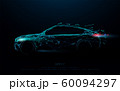 Abstract futuristic high speed sports car. Car logo form lines, triangles and particle style design 60094297