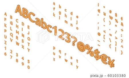 アルファベットのイラスト アイソメトリック フォント 60103380