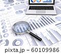 ビジネス資料と虫眼鏡、ノートパソコン 60109986