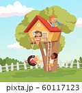 House on tree. Cute children playing in garden nature climbing vector kids background 60117123