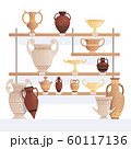 Old jug on shelves. Antique vessel in museum history clay cups and amphoras vector cartoon concept 60117136