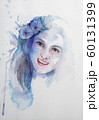 Hand drawn portrait of Watercolor beauty woman. Painting illustration on white background 60131399